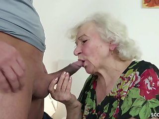 GERMAN ORDERLY CAUGHT GRANNIE JERK AND HELP WITH Dollop