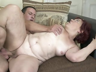 Red-haired granny finally gets her old twat banged constant