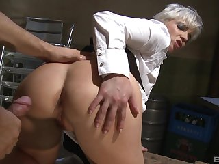 Unannounced haired blonde waitress Katy Sweet gets her asshole fucked