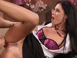 Slutty brunette MILF missionary style fucked on hammer away table
