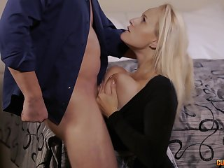 Busty flaxen-haired MILF Angel Wicky gets cum all over the brush huge tits