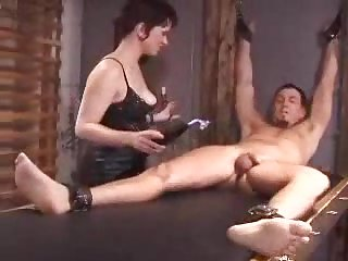 Bound together with Punished - femdom with busty brunette domina at ANALDIN