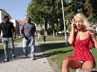 Verifiable whore with big boobs Sienna Day is fucked overwrought two huge black strangers
