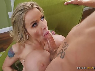 Manufactured MILF with huge tits gets cum all over her slutty face