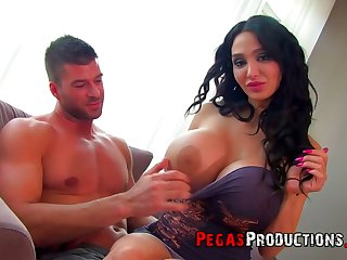 Giant breasted curly black adherent Amy Anderssen gives titjob and rides fat prick