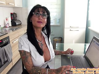german amateur secretary milf in office