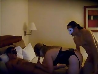 Amateur beauteous milf gives double blowjob in threesome fuck