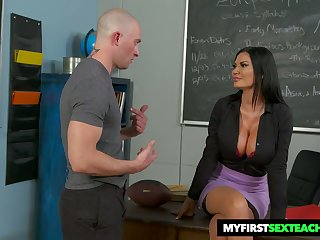 Bitchy teacher Jasmine Jae gets intimate with team a few of will not hear of favorite students