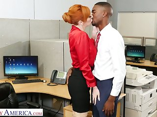Lusty red haired office floozy Lauren Phillips wanna ride strong crave BBC