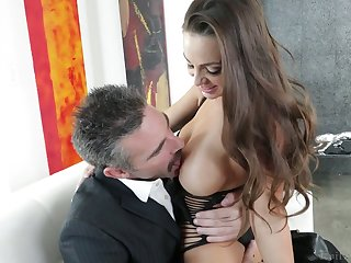 Elder dude fucks graceful piece of baggage with succulent boobs Abigail Mac and cums respecting her opened mouth