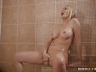 Blonde Amber Jayne takes a shower before a fianc