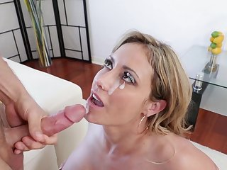busty milf gets cream on face after spoken sex with her step foetus