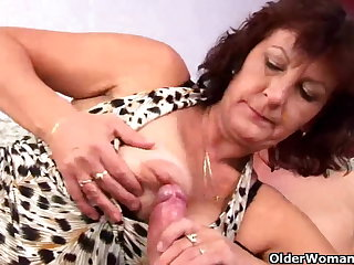 Hairy and sultry granny with big tits works eternal cock