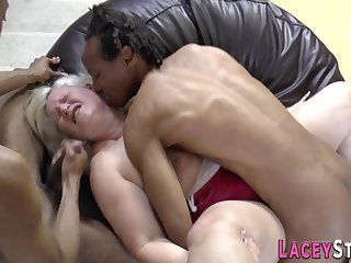 Granny Lacey Starr spitroasted - interracial gangbang