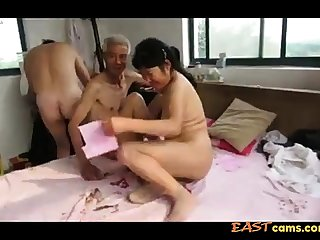 Asian Grandpa Threesome with mature woman