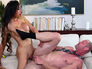 Big boobed asian TS got laid the brush lovers booty from behind