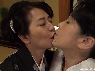 Lesbian pussy licking on the bed is a fantasy be required of pansy Asian couple