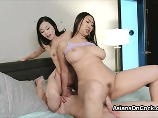 Heavy cock triumvirate with scalding Asian hotties