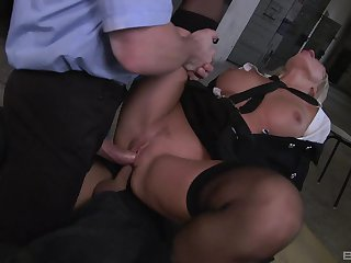 Milf gets double fucked off out of one's mind two masked men with jumbo dicks