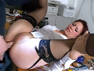Mature fits locate down put emphasize ass in office hardcore anal tryout