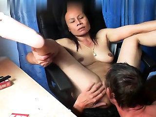 Thai asian milf mature suck light of one's life anal