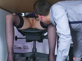 Lucky guy Matty fucked domineer blonde boss Angel Wicky