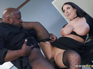 Brunette MILF Angela Sallow in hardcore interracial represent