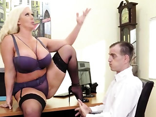 Curvy blonde MILF with heavy jugs and ass loves cock