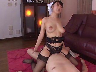 Busty Japan maid rides her authority until he cums in her