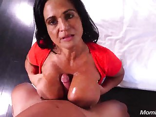 Pov titjob and sex with busty Latina mature mom - cumshot