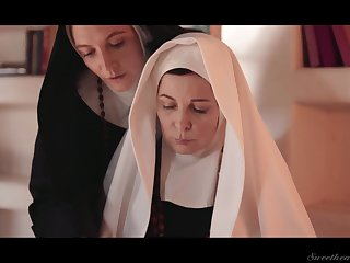 Three sinful grown up nuns are licking and munching each others pussies
