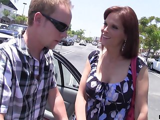 Lonely housewife Syren De Mer bangs one dude who helped her in the parking lot