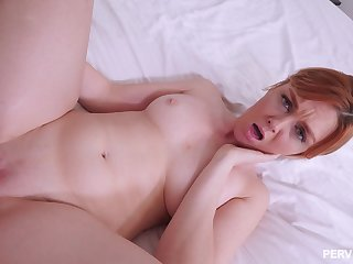 Redhead takes cock in POV more the addition of warms her clit more sperm
