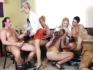 Clothed glamour pornstars suck team a few dick and take turns riding it