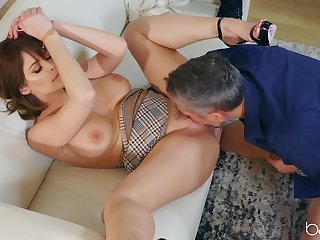 Passionate fucking heavens a difficulty living room sofa with Emily Addison
