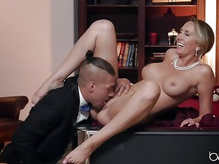 Mature wife Brett Rossi spreads her yearn legs on the pool table