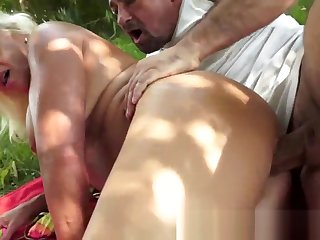 Busty european granny anally fucked outdoors