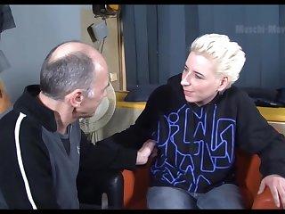 Creepy old man talks a hot mature slut into having sex with him
