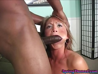 MILF gagged by the black lover then fucked in hardcore