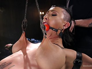 Clamped whore pest fucked in imperturbable ways while gagged