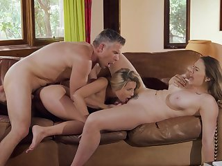 Hot threesome for mommy and the daughter