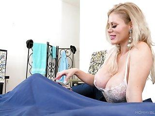 Amazing broad in the beam breasted blonde MILF Casca Akashova feels splendid to give BJ