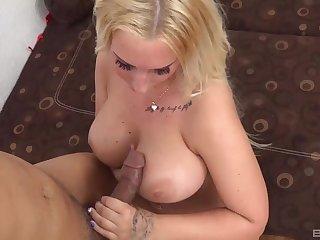Beamy pornstar Kyra Hot rides a large dick and gives a titjob