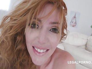 Amazing, red haired milf, Lauren Phillips got assfucked, balls deep during a tripple astuteness