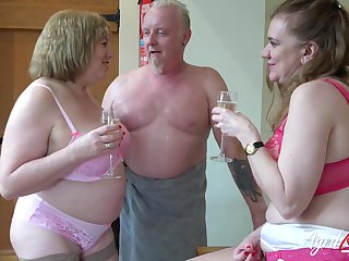 Little showoff producer hardcore threesome sex with horny matures