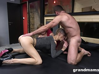 Two matured but still awesome whores carry the in a little while their shaved cunts are banged