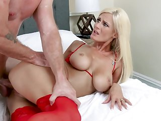 Dressed in dazzling red lingerie shove around flaxen-haired MILF Olivia Blu fucks wild