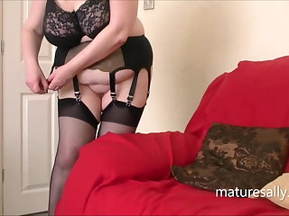 Brisk bra, black stockings and suspenders