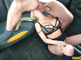 Barbie Sins banged good and eternal in rub-down the back buttocks be fitting of a taxi