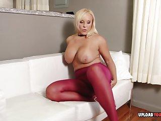 Horny milf puts on pantyhose and masturbates passionately